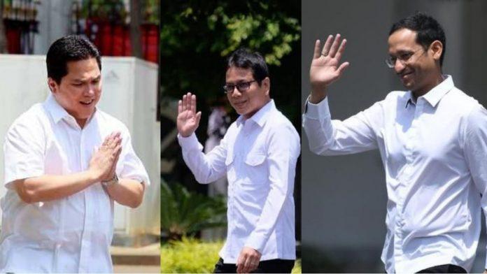 DARI KIRI- Erick Thohir, Wisnhutama dan Nadiem Makarim saat datang ke Istana Kepresidenan, Senin (21/10/2019). Foto : Istimewa.
